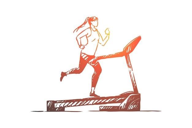 ランニングトラックのスポーツウーマン、トレーニング器具のイラストを使用して若い女性