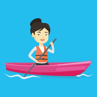 Sportswoman riding in kayak vector illustration.