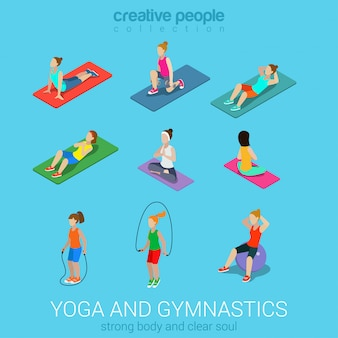 Sportswomen young girl doing yoga workout exercise gymnastics on carpets balls skipping rope gym flat isometric