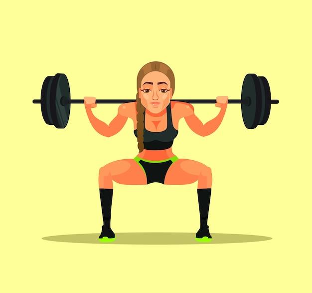Спортивная женщина учителя инструктора спортсмена культуриста фитнеса делая приседание тренировки с тяжелой штангой. спорт