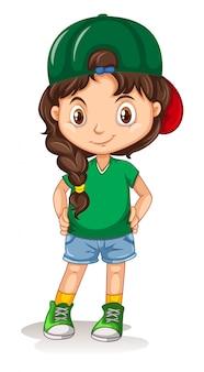 Sporty girl cartoon character