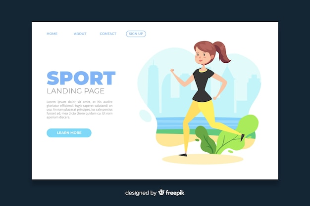 Sporty girl landing page template