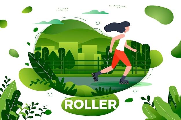 스포티 한 소녀 롤러 스케이트입니다. 도시, 공원, 나무, 배경에 언덕. 배너, 사이트, 포스터 템플릿