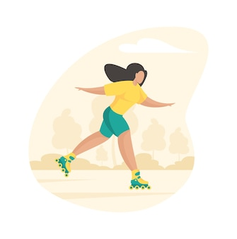 Спортивная девушка катается на роликах. молодая женщина весело мчится через коньки колеса летнего парка. активный фитнес на свежем воздухе со здоровым отдыхом