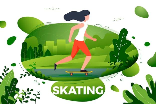 스포티 한 소녀 공원에서 스케이트입니다. 도시, 공원, 나무와 언덕 배경입니다. 배너, 사이트, 포스터 템플릿