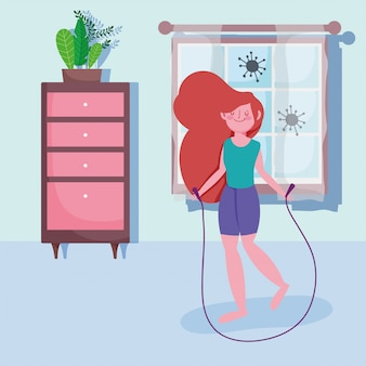 Sporty girl with jumping rope activity sport exercise at home covid 19 pandemic