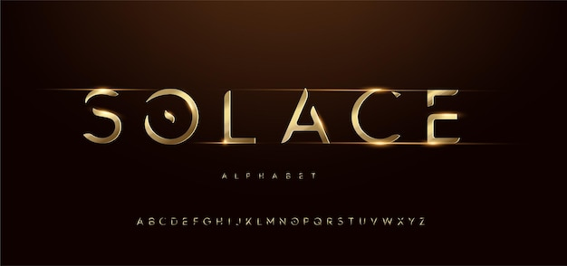 Sporty gold modern futuristic typography italic alphabet fonts