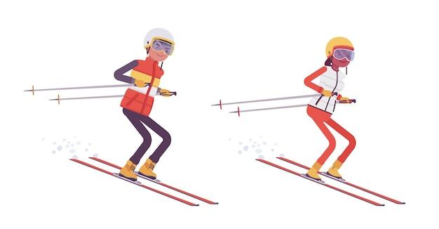 스포티한 남녀 스키 점프, 리조트에서 겨울 야외 활동, 활동적인 휴가, 겨울 관광 및 레크리에이션을 즐깁니다. 벡터 평면 스타일 만화 일러스트 절연, 흰색 배경