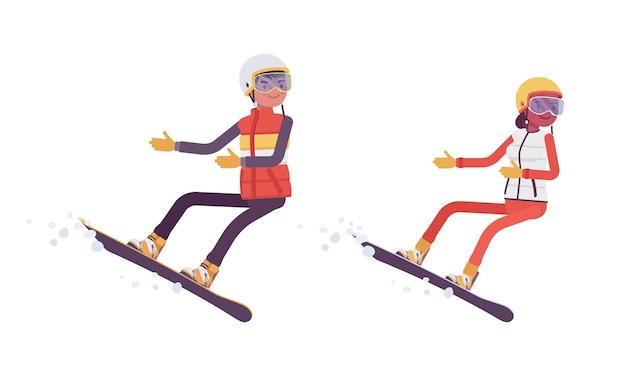 スポーティな男女のスノーボード、スキー場での冬のアウトドア活動、アクティブな休日、冬の観光、レクリエーションを楽しむ