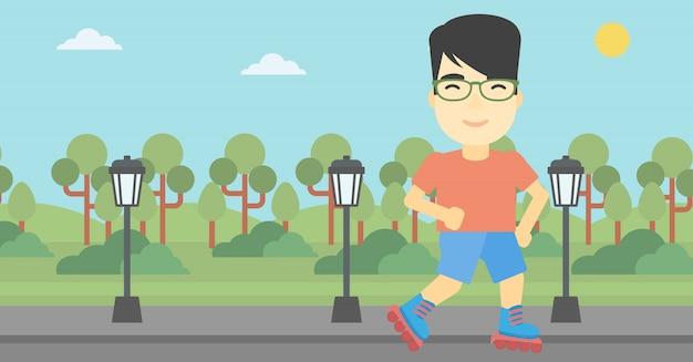Sporty man on roller-skates vector illustration.