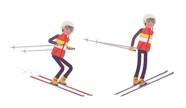 Sporty man ski jumping