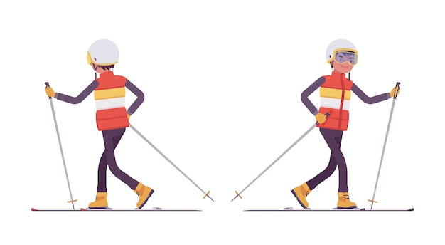 スポーティな男性スキー、スキーリゾートで冬の野外活動を楽しんでいます