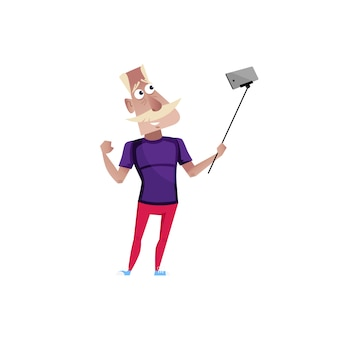 Sporty old man doing selfie character.