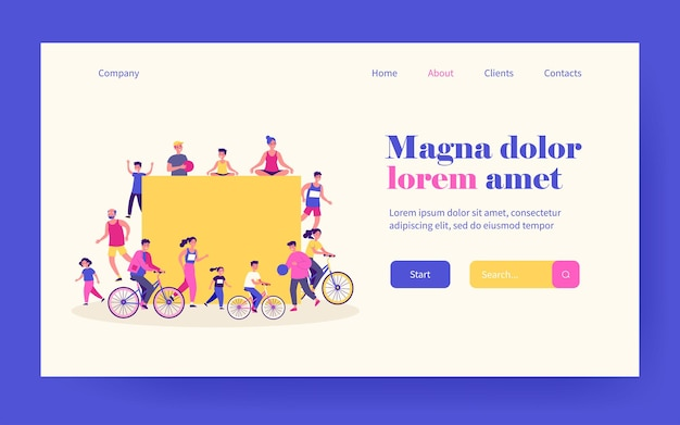 Sporty people around blank banner. men and women of different ages riding bike, running, doing yoga flat vector illustration. fitness, lifestyle concept for banner, website design or landing web page