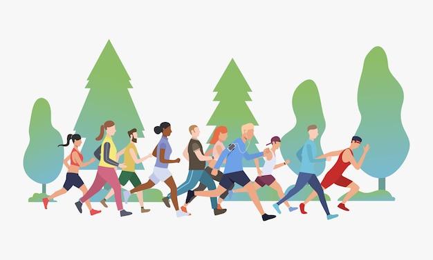 공원 그림에서 마라톤을 실행하는 스포티 한 사람들