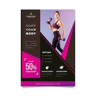 Modello di poster sportivo con foto di donna che lavora