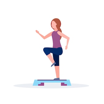 Sporty woman doing squats on step platform girl training in gym aerobic legs workout healthy lifestyle concept flat white background