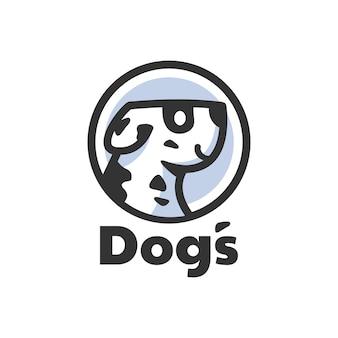 Пятно дизайн логотипа головы далматинской собаки