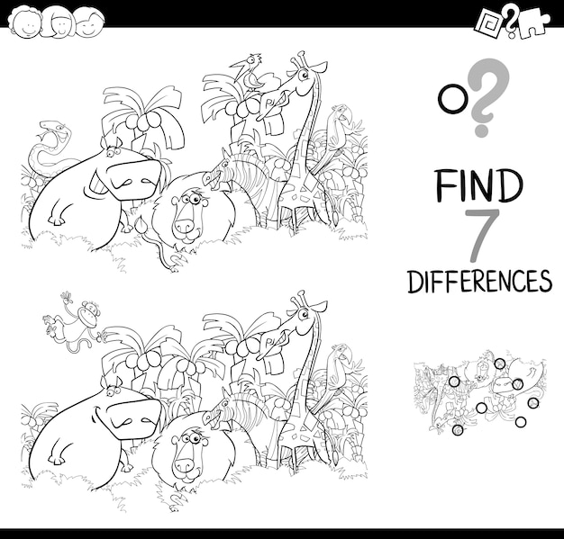 Spot the difference with animals coloring book