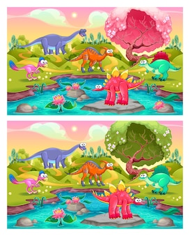 Trova le differenze. due immagini con sei cambi tra di loro, illustrazioni vettoriali e cartoni animati