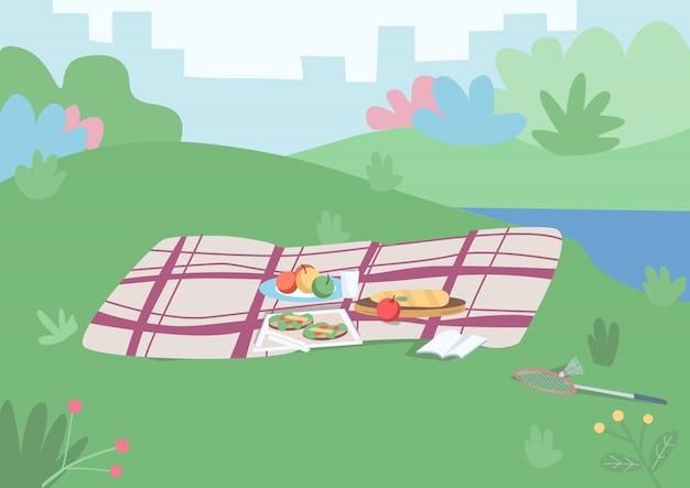 ピクニックカラーイラストのスポット。外で食事をするためにメッキされた食物が付いた毛布芝生の丘の上の余暇のための場所。都市の景観と背景に茂みのある公園漫画の風景