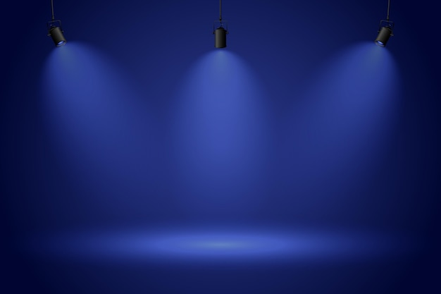 Spot lights on dark blue background