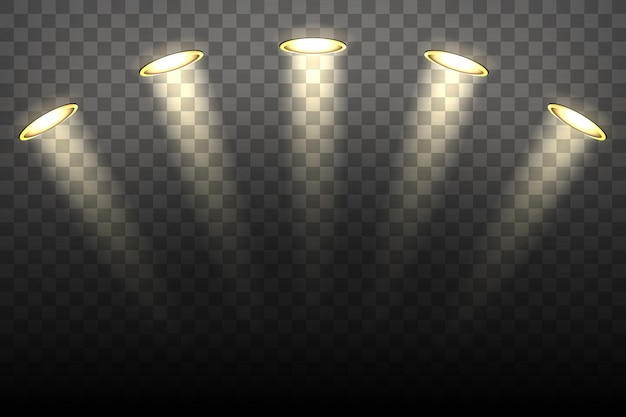 Spot lights on transparent background