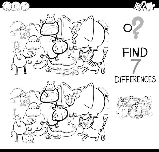 Определить разницу с книгой для окраски животных