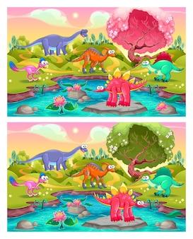 Найдите отличия. два изображения с шестью изменениями между ними, векторные и мультяшные иллюстрации
