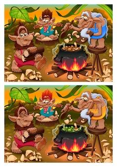 차이점을 발견하십시오. 6가지 변경 사항이 있는 두 개의 이미지, 벡터 및 만화 삽화