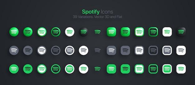 Набор иконок spotify современный 3d и плоский в разных вариациях Premium векторы