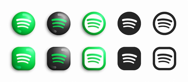 Spotify modern 3d and flat icons set