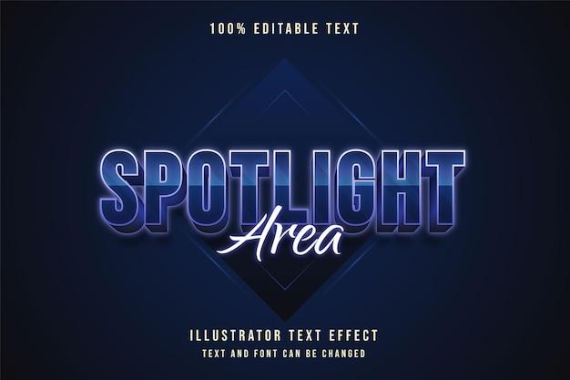Spotlight area, editable text effect blue gradation purple neon text style