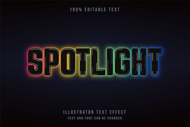 Spotlight,editable text effect black gradation yellow green blue neon style effect