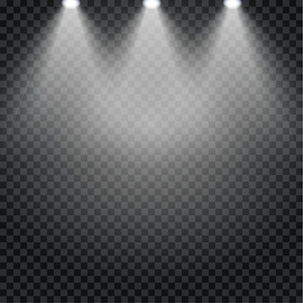 Spotlight effect for theater concert stage. abstract glowing light of spotlight illuminated background on transparent.