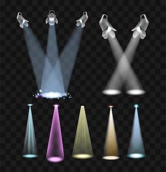 Spotlight effects - реалистичный современный векторный набор различных прожекторов. черный фон. коллекция высококачественных картинок с красочными лампами для отличного выступления.