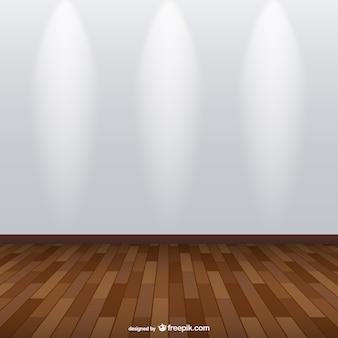Spotlight exhibition room with wooden floor