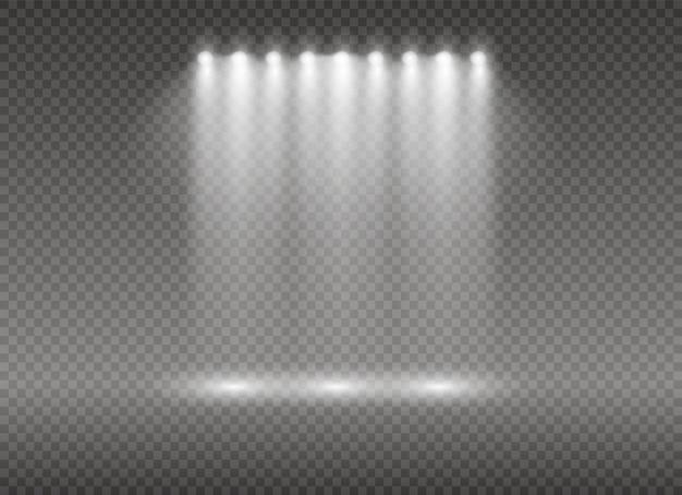 スポットライト白熱灯効果は透明な背景に分離されました。 Premiumベクター