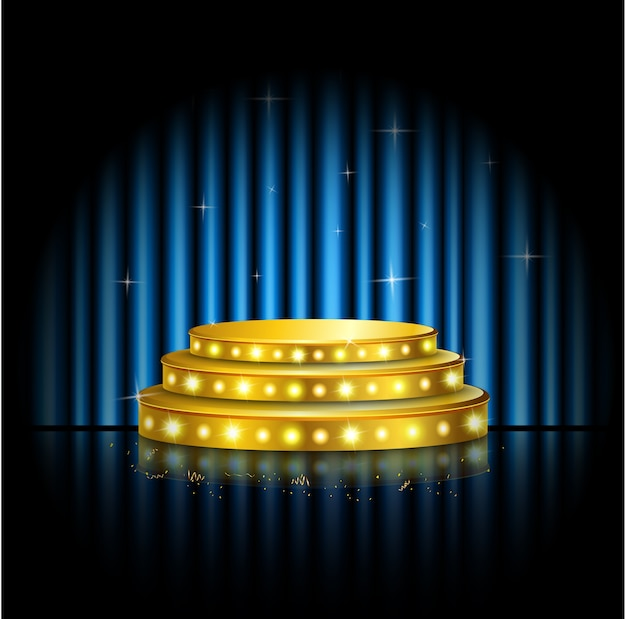 Spotlight golden of empty stage with blue curtain background