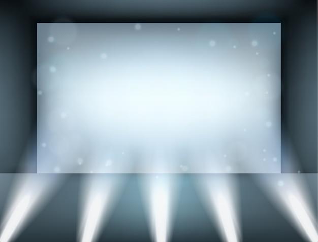 Spotlight illuminated on billboard