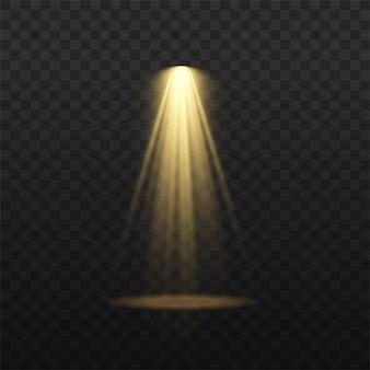 スポット ライトが分離されました。金色の光線による光の効果