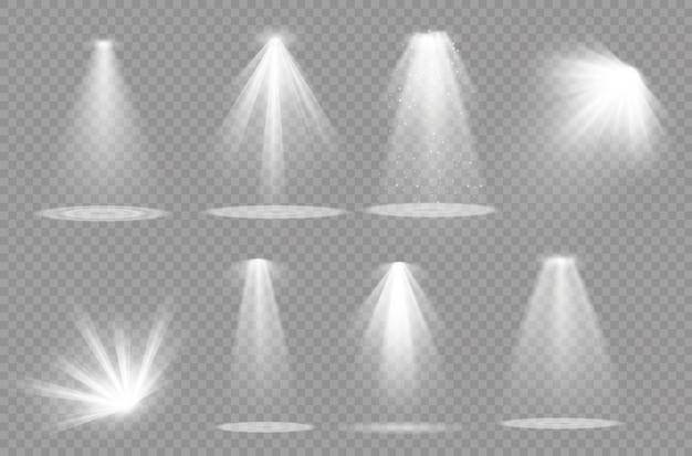 スポットライト。光の効果。孤立した白色の透明な光の効果を光らせます。抽象的な特殊効果要素のデザイン。