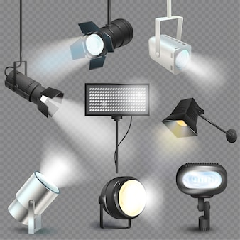 Spotlight light show studio with spot lamps on theater stage illustration set of projector lights photographing movie equipment isolated on transparent background