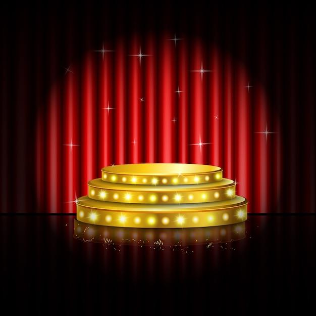 ステージの背景に輝くスポットライト