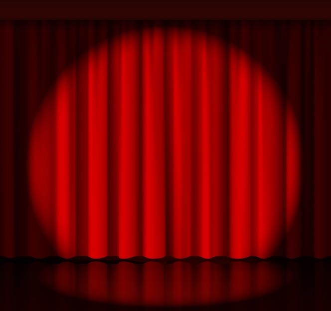 舞台幕にスポットライトを当てます。イベントとショー、ファブリックとエンターテインメント。ベクトルイラスト