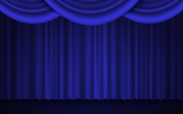 무대 극장 또는 영화관 폐쇄 커튼에 스포트라이트