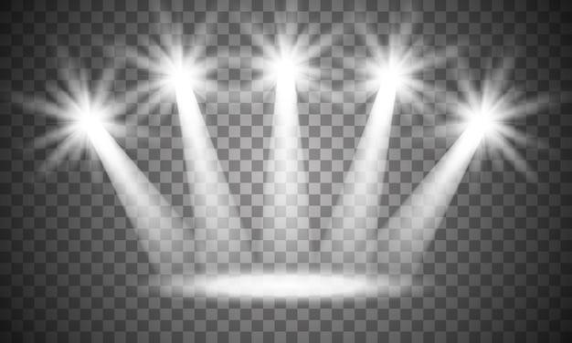 В центре внимания на сцене. объемный свет на прозрачном.