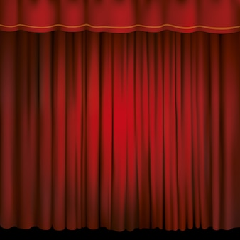 Spotlight on a red stage curtain.