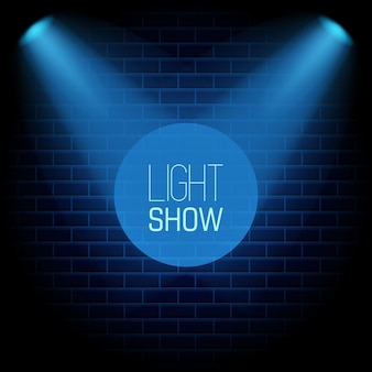 Spotlight show blue background