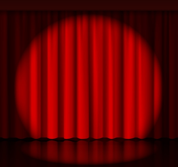 Spotlight on stage curtain. event and show, fabric and entertainment. vector illustration